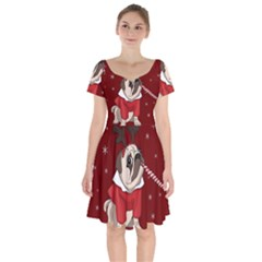 Pug Xmas Short Sleeve Bardot Dress