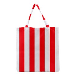 Wide Red And White Christmas Cabana Stripes Grocery Tote Bag