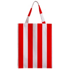 Wide Red And White Christmas Cabana Stripes Zipper Classic Tote Bag