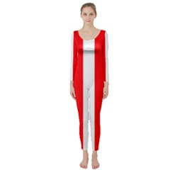Wide Red And White Christmas Cabana Stripes Long Sleeve Catsuit