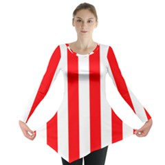 Wide Red And White Christmas Cabana Stripes Long Sleeve Tunic