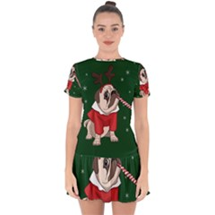 Pug Xmas Drop Hem Mini Chiffon Dress