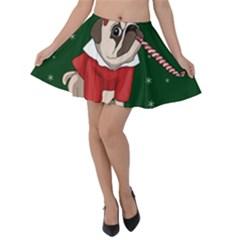 Pug Xmas Velvet Skater Skirt