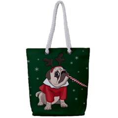 Pug Xmas Full Print Rope Handle Bag (small)