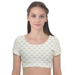 Gold Scales Of Justice On White Repeat Pattern All Over Print Velvet Short Sleeve Crop Top