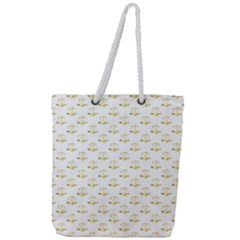 Gold Scales Of Justice On White Repeat Pattern All Over Print Full Print Rope Handle Tote (large)