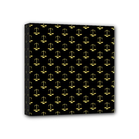 Gold Scales Of Justice On Black Repeat Pattern All Over Print  Mini Canvas 4  X 4