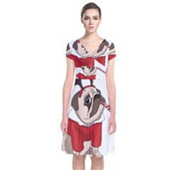 Pug Xmas Short Sleeve Front Wrap Dress