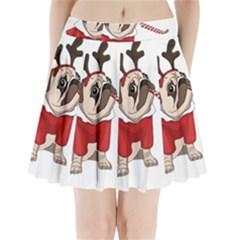 Pug Xmas Pleated Mini Skirt