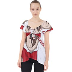 Pug Xmas Lace Front Dolly Top