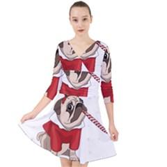 Pug Xmas Quarter Sleeve Front Wrap Dress