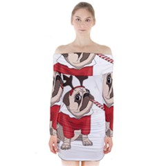 Pug Xmas Long Sleeve Off Shoulder Dress