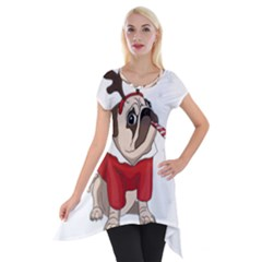 Pug Xmas Short Sleeve Side Drop Tunic