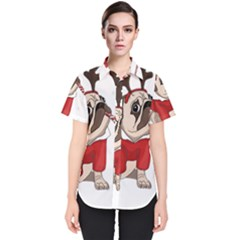 Pug Xmas Women s Short Sleeve Shirt
