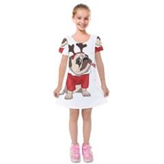 Pug Xmas Kids  Short Sleeve Velvet Dress