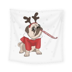 Pug Xmas Square Tapestry (small)