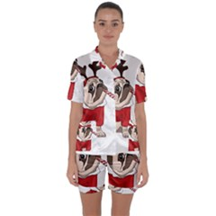 Pug Xmas Satin Short Sleeve Pyjamas Set