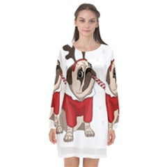 Pug Xmas Long Sleeve Chiffon Shift Dress
