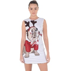 Pug Xmas Lace Up Front Bodycon Dress
