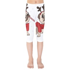 Pug Xmas Kids  Capri Leggings