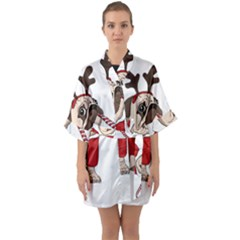 Pug Xmas Quarter Sleeve Kimono Robe