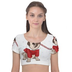 Pug Xmas Velvet Short Sleeve Crop Top