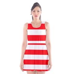 Christmas Red And White Cabana Stripes Scoop Neck Skater Dress