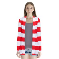 Christmas Red And White Cabana Stripes Drape Collar Cardigan