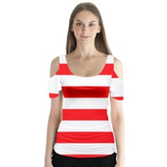 Christmas Red And White Cabana Stripes Butterfly Sleeve Cutout Tee