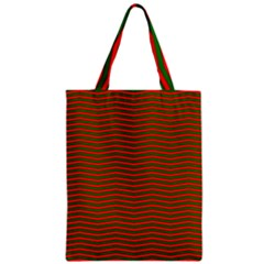 Christmas Red And Green Chevron Zig Zag Stripes Zipper Classic Tote Bag
