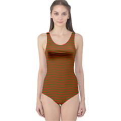 Christmas Red And Green Chevron Zig Zag Stripes One Piece Swimsuit