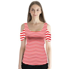 Christmas Red And White Chevron Stripes Butterfly Sleeve Cutout Tee
