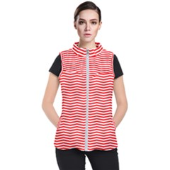 Christmas Red And White Chevron Stripes Women s Puffer Vest