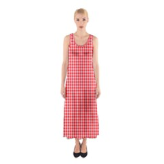 Small Snow White And Christmas Red Gingham Check Plaid Sleeveless Maxi Dress