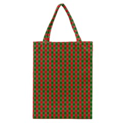 Large Red And Green Christmas Gingham Check Tartan Plaid Classic Tote Bag
