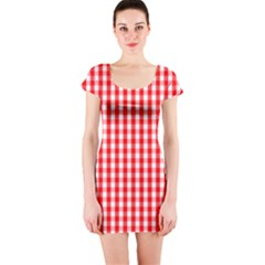 Large Christmas Red And White Gingham Check Plaid Short Sleeve Bodycon Dress