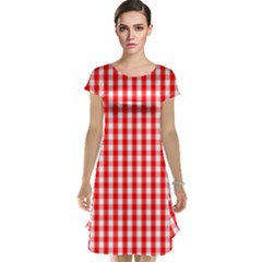 Large Christmas Red And White Gingham Check Plaid Cap Sleeve Nightdress