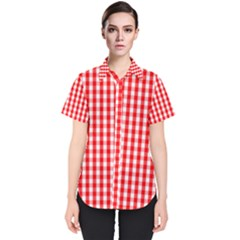 Large Christmas Red And White Gingham Check Plaid Women s Short Sleeve Shirt