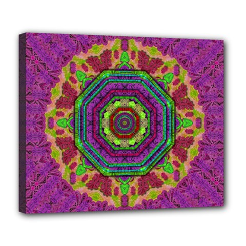 Mandala In Heavy Metal Lace And Forks Deluxe Canvas 24  X 20