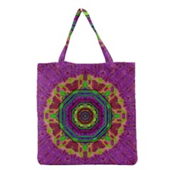 Mandala In Heavy Metal Lace And Forks Grocery Tote Bag