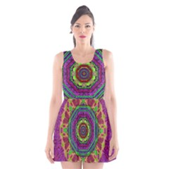 Mandala In Heavy Metal Lace And Forks Scoop Neck Skater Dress