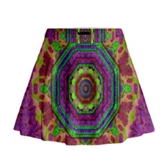 Mandala In Heavy Metal Lace And Forks Mini Flare Skirt