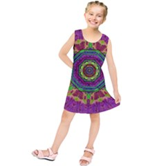 Mandala In Heavy Metal Lace And Forks Kids  Tunic Dress