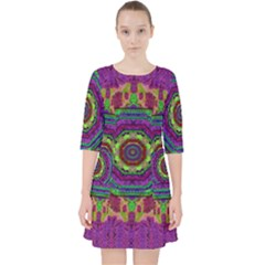 Mandala In Heavy Metal Lace And Forks Pocket Dress
