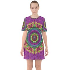 Mandala In Heavy Metal Lace And Forks Sixties Short Sleeve Mini Dress