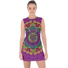 Mandala In Heavy Metal Lace And Forks Lace Up Front Bodycon Dress