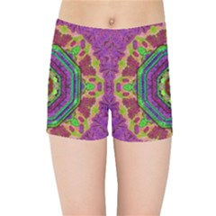 Mandala In Heavy Metal Lace And Forks Kids Sports Shorts