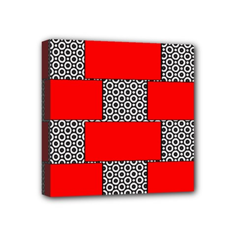 Black And White Red Patterns Mini Canvas 4  X 4