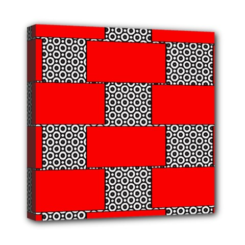 Black And White Red Patterns Mini Canvas 8  X 8