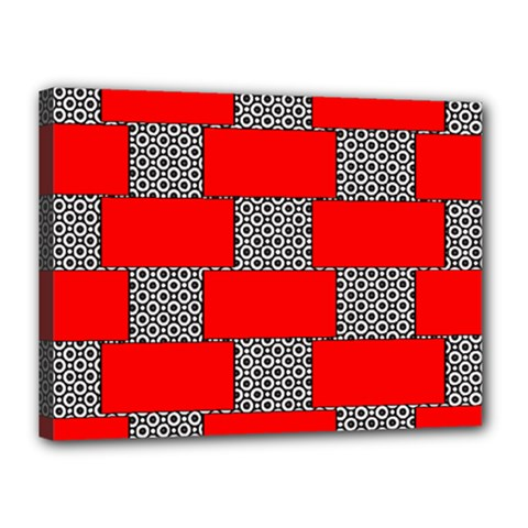 Black And White Red Patterns Canvas 16  X 12